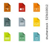 documents icons set. flat... | Shutterstock . vector #525610012