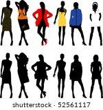 silhouette fashion girls | Shutterstock .eps vector #52561117
