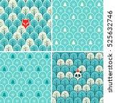 set of holidays seamless... | Shutterstock .eps vector #525632746
