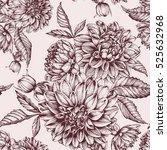 vector floral seamless pattern... | Shutterstock .eps vector #525632968