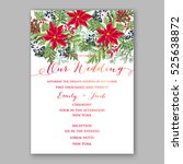 poinsettia winter wedding... | Shutterstock .eps vector #525638872