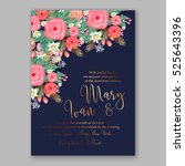 wedding invitation printable... | Shutterstock .eps vector #525643396