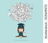 girl graduated pupils swinging... | Shutterstock .eps vector #525649072