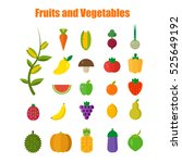 isolated vegetables set fruits... | Shutterstock .eps vector #525649192