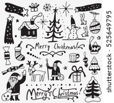 christmas doodles | Shutterstock .eps vector #525649795