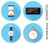 clock icons . flat design style ... | Shutterstock .eps vector #525650722