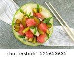Fruit Salad Served In A Melon...