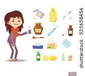 collection of vector influenza... | Shutterstock .eps vector #525658456