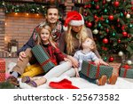 new year's picture of family | Shutterstock . vector #525673582