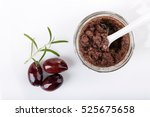 tapenade   olive paste made... | Shutterstock . vector #525675658