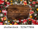 christmas decoration on wooden... | Shutterstock . vector #525677806