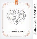 vintage thin line aries zodiac... | Shutterstock .eps vector #525680452
