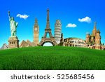concept of travel. green field... | Shutterstock . vector #525685456