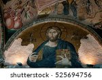 fresco  and mosaic ceiling ... | Shutterstock . vector #525694756