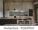 kitchen in a loft style with... | Shutterstock . vector #525699022