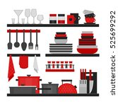kitchen shelves and cooking... | Shutterstock .eps vector #525699292