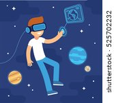 boy with vr headset in space.... | Shutterstock .eps vector #525702232