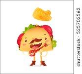 happy taco character in... | Shutterstock .eps vector #525702562