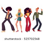 people in 1970s style clothes... | Shutterstock .eps vector #525702568