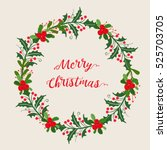 christmas wreath   | Shutterstock .eps vector #525703705