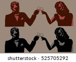 vintage man and woman toasting  ...   Shutterstock .eps vector #525705292