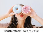 closeup portrait joyful girl... | Shutterstock . vector #525710512