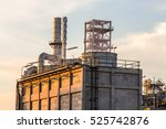 big industrial oil tanks in a... | Shutterstock . vector #525742876