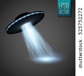 ufo spaceship with light beam... | Shutterstock .eps vector #525752272
