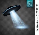 ufo spaceship with light beam... | Shutterstock .eps vector #525752272