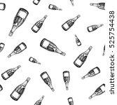 champagne bottle seamless... | Shutterstock .eps vector #525754438