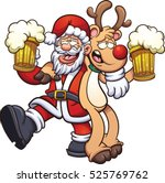 drunk santa claus and reindeer. ... | Shutterstock .eps vector #525769762