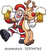 Drunk Santa Claus And Reindeer. ...