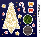 holiday gift stickers with hand ... | Shutterstock .eps vector #525774946