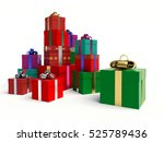 stacks of gift boxes. 3d... | Shutterstock . vector #525789436