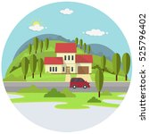 small house on green hills with ... | Shutterstock .eps vector #525796402