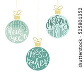 Set of three hanging Christmas ornaments. Vector illustration  | Shutterstock vector #525801352