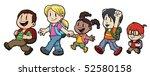 five cute cartoon kids walking... | Shutterstock .eps vector #52580158