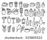 beverages doodle set on white... | Shutterstock . vector #525805522