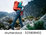 hiker woman with backpack... | Shutterstock . vector #525808402