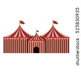 big red and white circus tent... | Shutterstock .eps vector #525830935