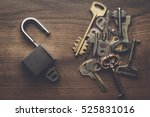 opened check lock and different ... | Shutterstock . vector #525831016