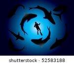 sharks and scuba diver vector | Shutterstock .eps vector #52583188