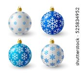 set of blue and white christmas ... | Shutterstock .eps vector #525834952