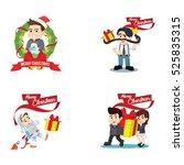 people christmas cartoon set   Shutterstock .eps vector #525835315
