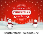 snowman wearing santa hat  high ... | Shutterstock .eps vector #525836272