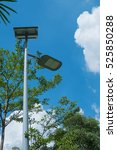 led spotlight with solar power... | Shutterstock . vector #525850288