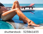 beautiful young slim woman legs ... | Shutterstock . vector #525861655