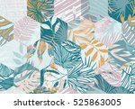 seamless pattern with tropical... | Shutterstock .eps vector #525863005