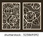 set of 2 wedding invitation or... | Shutterstock .eps vector #525869392