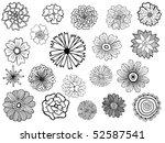 set of cute vector doodle... | Shutterstock .eps vector #52587541